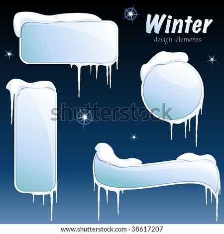 Collection of glossy winter banners (vector); a JPG version is also available - stock vect