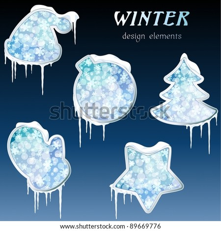 Collection of glossy winter icons with icicles (eps10);  jpg version also available