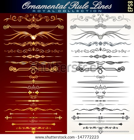 Collection of Gold and Black Rule Lines. Vector Design Elements, Ornaments.