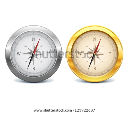 Collection of gold and silver compasses