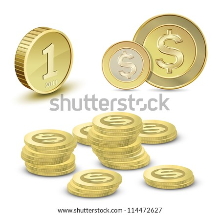 Collection of gold coins. Vector illustration