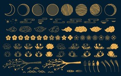 Collection of gold decorative elements in oriental style with moon, stars, clouds, tree branch, lotus flowers, grass, for Chinese New Year, Mid Autumn Festival. Isolated objects. Vector illustration.