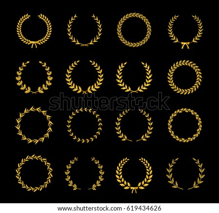 Collection of gold silhouette circular laurel foliate and oak wreaths depicting an award, achievement, heraldry, nobility. Can be used as design elements in heraldry on an award certificate manuscript