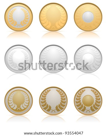 Collection of gold, silver and bronze medals, vector illustration