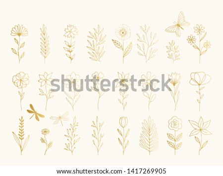 Collection of gold vector floral design elements. Decoration elements for invitation, wedding cards, valentines day, greeting cards. Isolated.