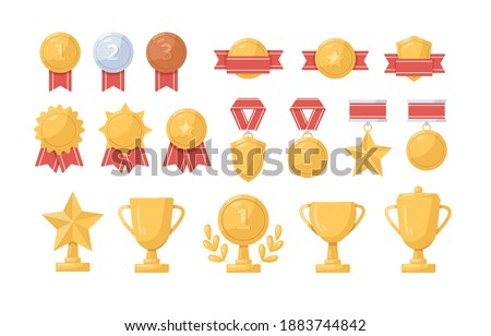 Collection of golden, silver and bronze medals, cups and badges vector flat illustration. Set of trophy or awards for winners isolated. Metal symbols of success, championship and triumph