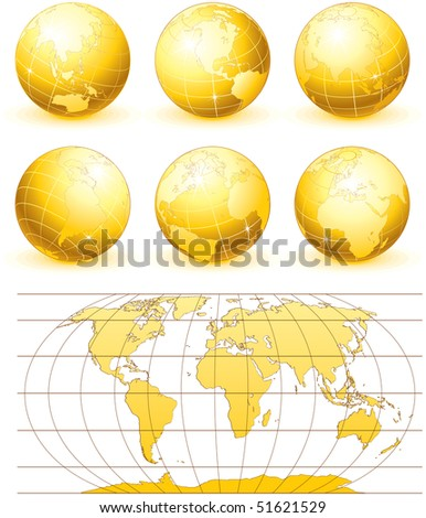 collection of golden vector