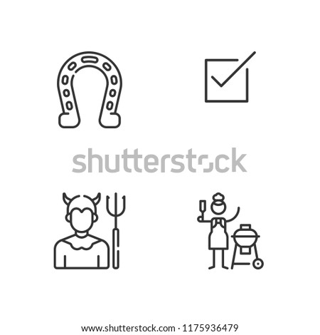 Collection of 4 good outline icons include icons such as horseshoe, check square, devil
