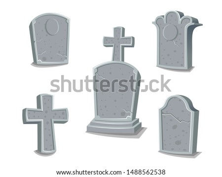 Collection of gravestones. Concept cartoon gravestone in different. Halloween elements set. Vector clipart illustration isolated on white background Stock photo ©