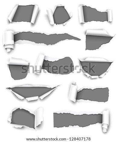 collection of gray torn paper