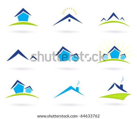 Collection of green and blue real estate icons. Vector Illustration.