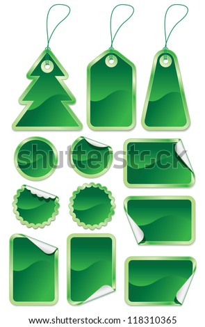 Collection of green stickers and labels on white background