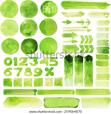 collection of green watercolor