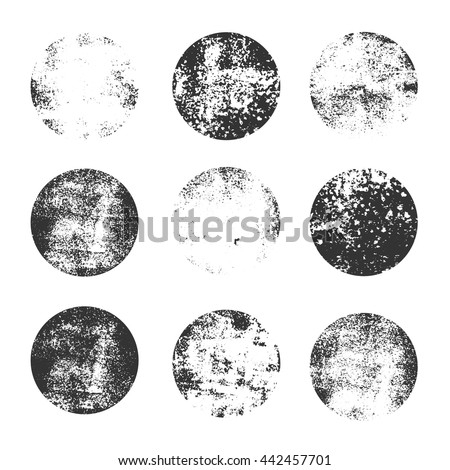 Collection of grunge circle shapes. design elements for logo, branding, label. Old, dirty forms.