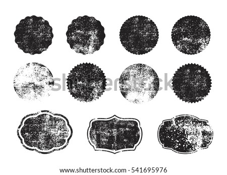 Collection of grunge circle shapes. Design elements for logo, branding, label. Old, dirty forms, frames. #541695976