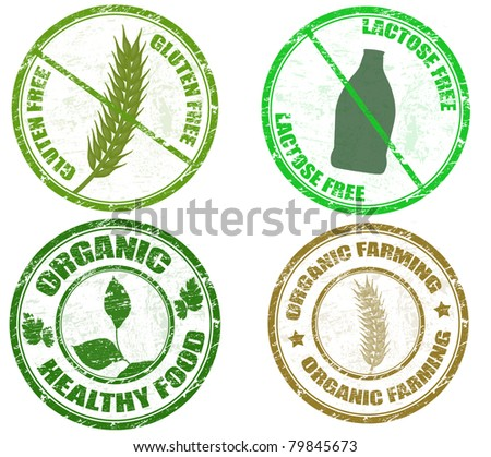 Collection of grunge diet stamps (gluten free, lactose free and organic), vector illustration