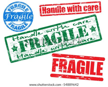 Collection of grunge office rubber stamps with word Fragile. See other rubber stamp collections in my portfolio