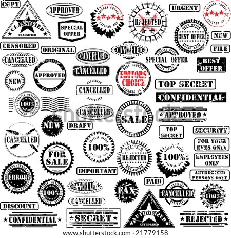 Collection of grunge rubber stamps. See other rubber stamp collections in my portfolio. Non grunge version - see picture ID 17138866