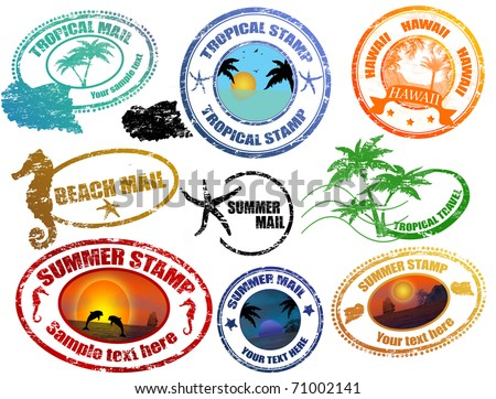Collection of grunge tropical  summer stamps and with place for your text  inside