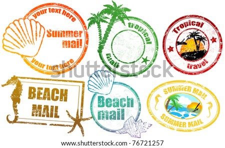 Collection of grunge tropical  summer stamps and with place for your text  inside, vector illustration