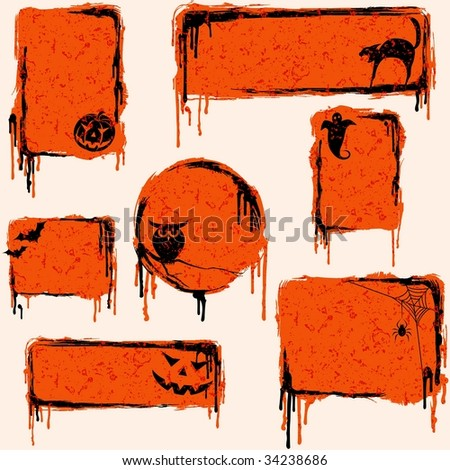 Collection of grungy halloween design elements (vector); a JPG version is also available