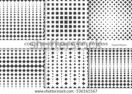 Collection of halftone seamless geometric patterns.Vector motion texture.