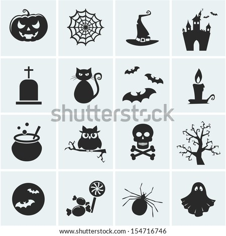 Collection of 16 halloween icons. Vector illustration.