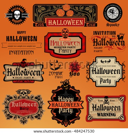 collection of halloween labels and frames with retro vintage styled