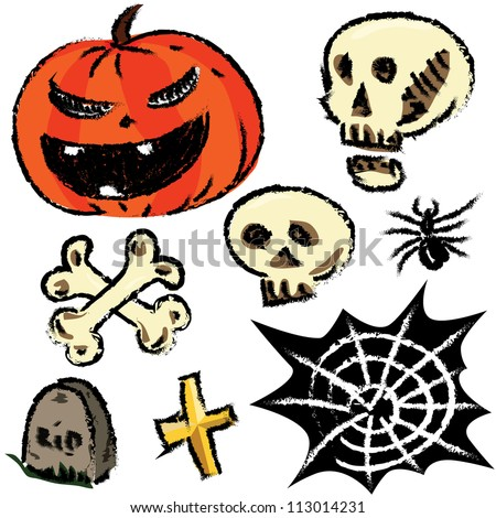 Collection of halloween objects isolated on white background. Hand drawing sketch vector illustration