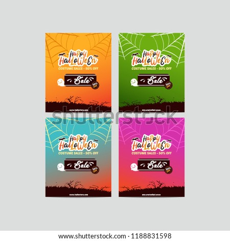 Collection of halloween sale banner. Happy Halloween or Hand Lettering vector on scary background #1188831598