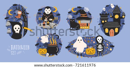 collection of halloween scenes