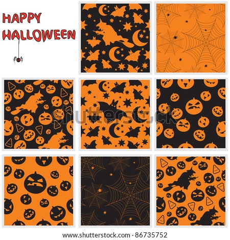 Collection of halloween seamless patterns. Vector illustration.