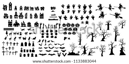 Collection of halloween silhouettes icon and  character. - Shutterstock ID 1133883044