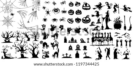 Collection of halloween silhouettes icon and character., witch,  creepy and spooky elements for halloween decorations, silhouettes, sketch, icon, sticker. Hand drawn vector illustration - Shutterstock ID 1197344425