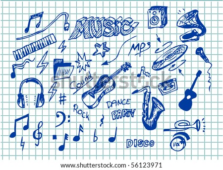 collection of hand draw music symbols