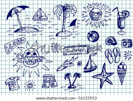 collection of hand draw summer symbols