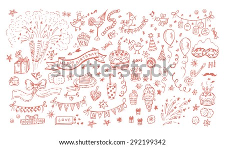 Collection of Hand drawn Birthday Party elements Celebratory attributes Vector illustration