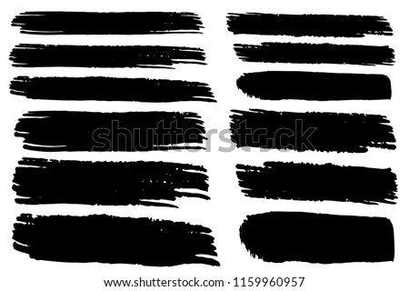 Collection of hand drawn black grunge brushes. Vector Grunge Brushes. Dirty Artistic Design Elements. Creative Design Elements. White background. Distress Frame, Logo, Banner, Wallpaper. #1159960957