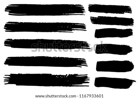 Collection of hand drawn black grunge brushes. Vector Grunge Brushes. Dirty Artistic Design Elements. Creative Design Elements. White background. Distress Frame, Logo, Banner, Wallpaper. #1167933601