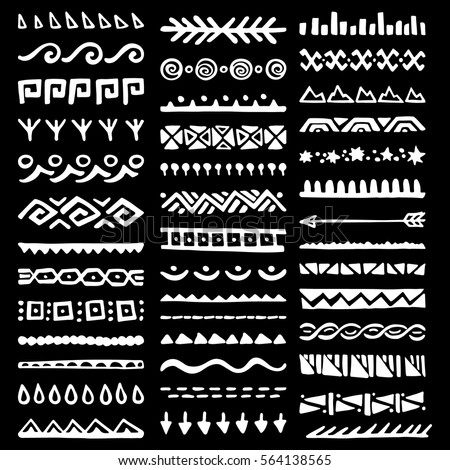 Collection of Hand Drawn Borders in Ethnic Style. Aztec art dividers. Trendy boho separators. - Shutterstock ID 564138565