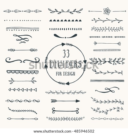 Collection of hand drawn borders made with brush and ink. Line and dividers for design. Vector.