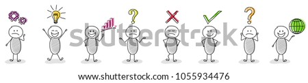 Collection of hand drawn business icons with funny stickman. Vector.
