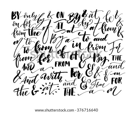 Collection of hand drawn catchwords. Hand lettered ampersand and catchwords. Handwritten calligraphy and lettering collection. Modern brush calligraphy. Ampersands and catchwords for your design.