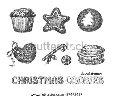 Collection of hand drawn Christmas cookies
