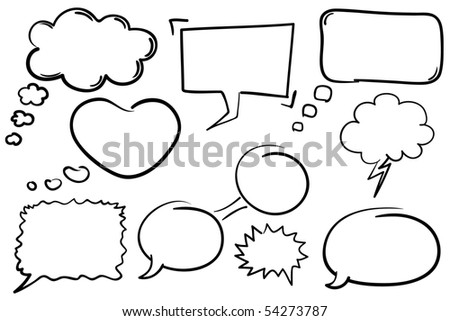 Collection of hand drawn comic book style vector chat bubbles.