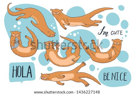 Collection of hand-drawn cute otters with hand lettering. Hola - hello in Spanish