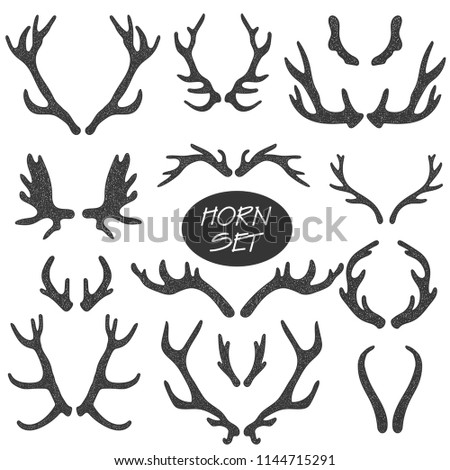 Collection Of 14 Hand Drawn Different Animals Horns. Boho And Rustic Illustration Foto stock ©