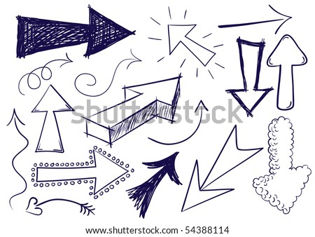 Collection of hand drawn doodle style vector arrows in various directions and styles.