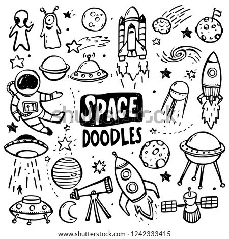 Collection of hand drawn doodles - UFO's, aliens, planets and spacecrafts.