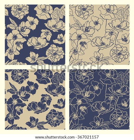 collection of hand drawn floral